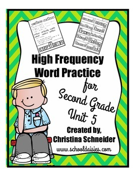 High Frequency Word Practice for Second Grade Unit 5