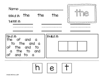 High Frequency Word Printables