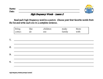 High Frequency Word Review - Journeys Program