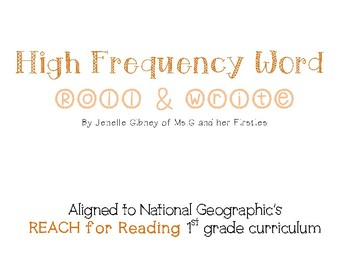 High Frequency Word Roll & Write (National Geographic's REACH for Reading)