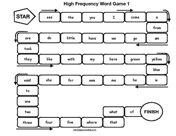 High-Frequency Word Roll and read Board Game
