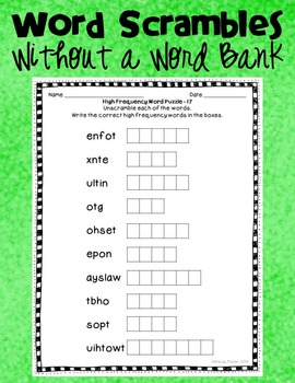 High Frequency Word Scrambles-Unscramble Mixed Up Letters to Solve the Puzzles!