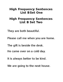 High Frequency Word Sentences List B