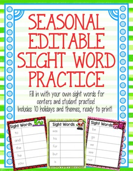 High Frequency Word / Sight Word Editable Seasonal Practice Pack