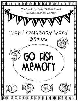 High Frequency Word/ Sight Word Games