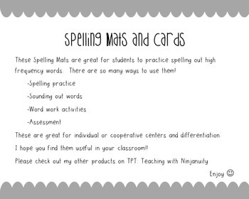 High Frequency Word Spelling Mats