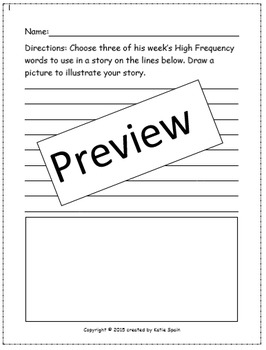 High Frequency Word Story Writing