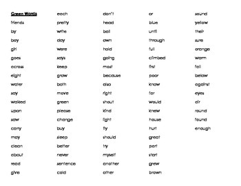 High Frequency Word Summary Booklet