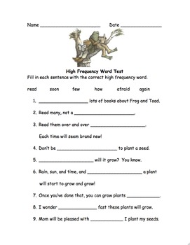 high frequency word test frog and toad together by educprek12 tpt