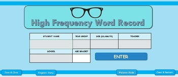 High Frequency Word Tracker and Monitoring system - Primary Literacy