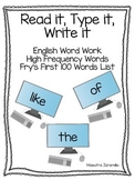 High Frequency Word Typing Practice Fry's First 100 Words