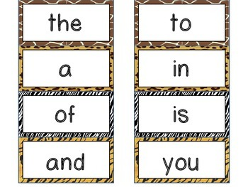 High Frequency Word Wall Cards for K-1 *Safari Theme* {Sitton word list}