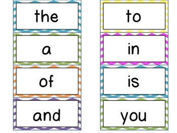 High Frequency Word Wall Cards for K-1 *Bright Chevron*  {Sitton word list}