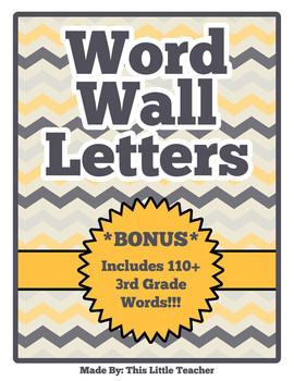 3rd/4th Grade Word Wall Set - Yellow & Grey Chevron
