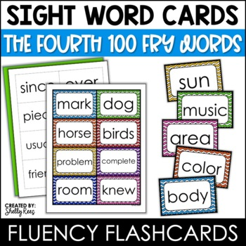 Word Wall Sight Words - Fry List - The Fourth 100 - Chevron Border