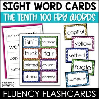 Word Wall Sight Words - Fry List - The Tenth 100 - Chevron Border