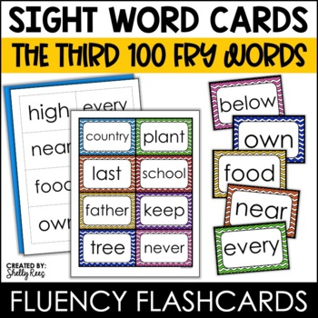 Word Wall Sight Words - Fry List - The Third 100 - Chevron Border