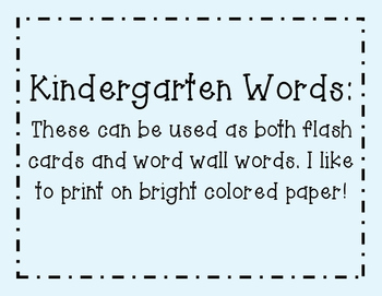 High Frequency Word Wall Words and Flash Cards