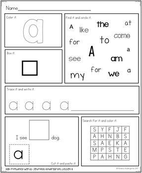 High Frequency Word Work: Journeys Kindergarten