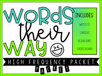 High Frequency Word Work Packet