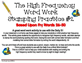 High Frequency Word Work ** Stamp & Write Practice ** Fry Words26-50