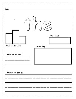 High Frequency Word Work- the