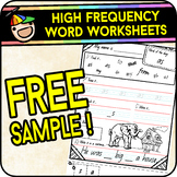 High Frequency Word Worksheets - FREE SAMPLE - No Prep Sight Words (British)