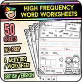 High Frequency Word Worksheets Vol 1 - [50 Pages] - Sight Words (British)