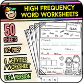 High Frequency Word Worksheets Vol 1 - [50 Pages] - Sight Words (American)