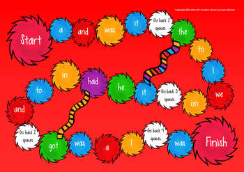 High Frequency Word board game- Dr Seuss inspired EDITABLE