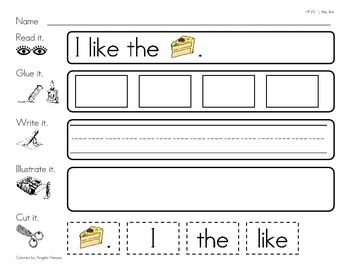 """High Frequency Word """"like"""" Read, Glue, Write, Illustrate, and Cut It"""
