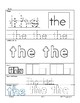 "High Frequency Word ""the"" Practice Page"