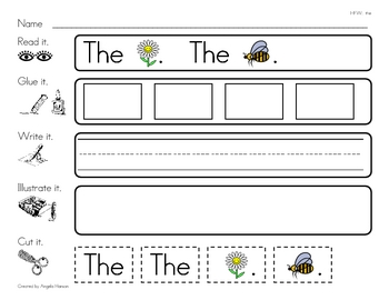 "High Frequency Word ""the"" Read, Glue, Write, Illustrate, and Cut It"
