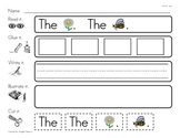 "High Frequency Word ""the"" Read, Glue, Write, Illustrate, a"