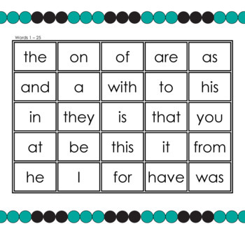 Dolch High Frequency Sight Words 1 to 25 Mini-Flash Cards And Bingo