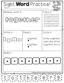 High Frequency Words {1st Grade, Pack 4 of 4}