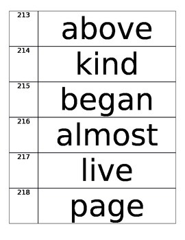 High Frequency Words 201-400