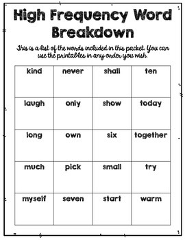 High Frequency Words {3rd Grade, Pack 2 of 2}