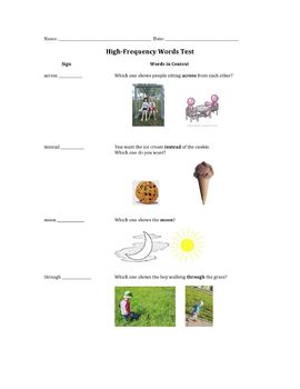 High-Frequency Words Assessment: Sign Language & Pictures