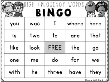 High-Frequency Words Bingo Reading Street Grade 1 Review Unit