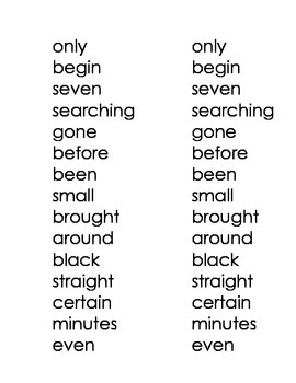 High Frequency Words - Blue Words