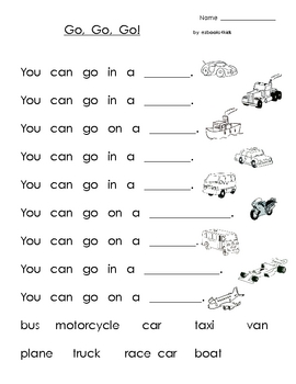 High Frequency Words Book and Activities for Kindergarten - Vehicles