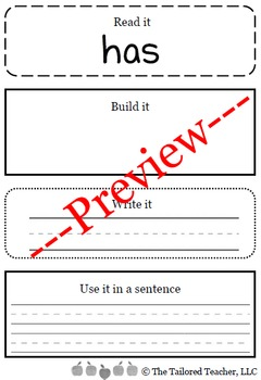 High Frequency Words Center: Read it, Build it, Write it, and Use it