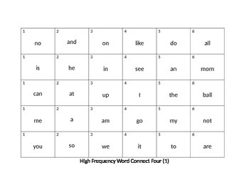 High Frequency Words Connect Four