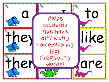 High Frequency Words and Sight Word Game Dinosaur Theme