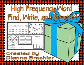 High Frequency Words Find, Write, and Read #3