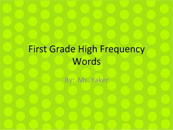 High Frequency Words First Grade