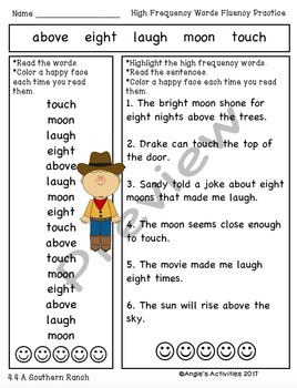 High Frequency Words Fluency Practice (Reading Street Unit 4/1st Grade)