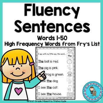 Sight Word Fluency Sentences Fry's First 50 Words