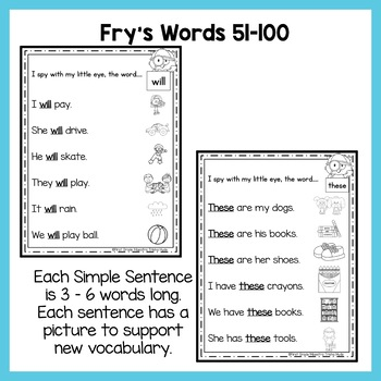 Sight Word Fluency Sentences Fry's Words 51-100